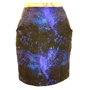 Blue & Black Brocade Skirt